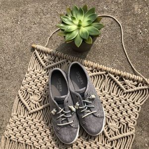 Sperry Top-Sider Grey Slip-On Canvas Sneakers